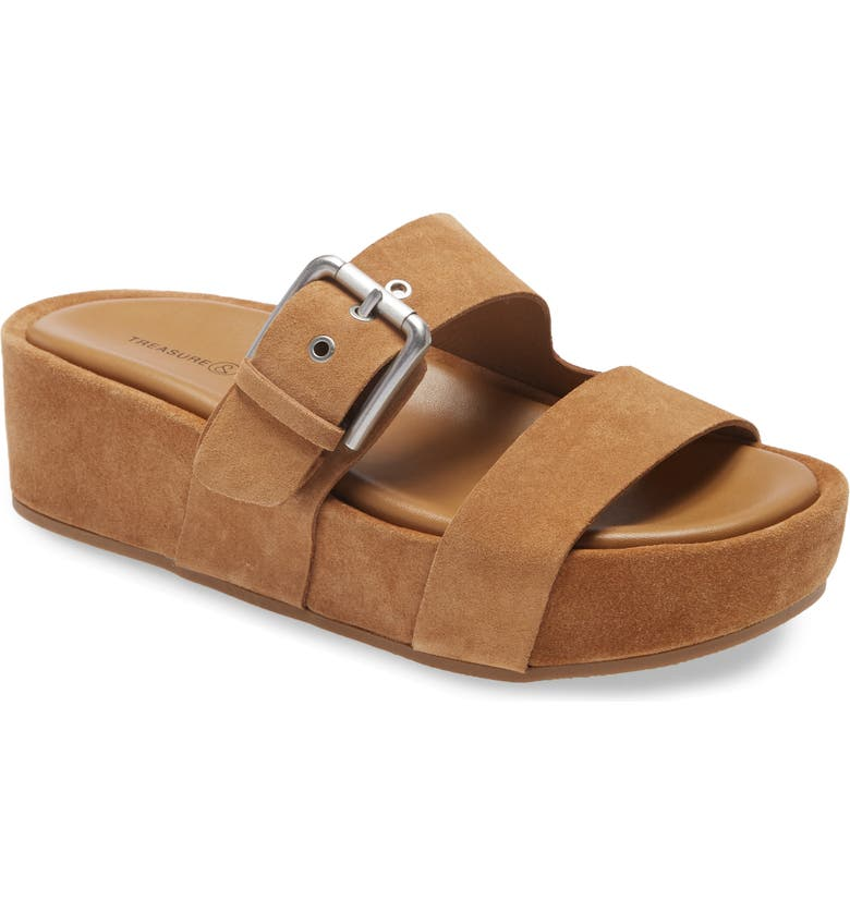 TREASURE & BOND Colt Platform Slide Sandal, Main, color, TAN CASHEW