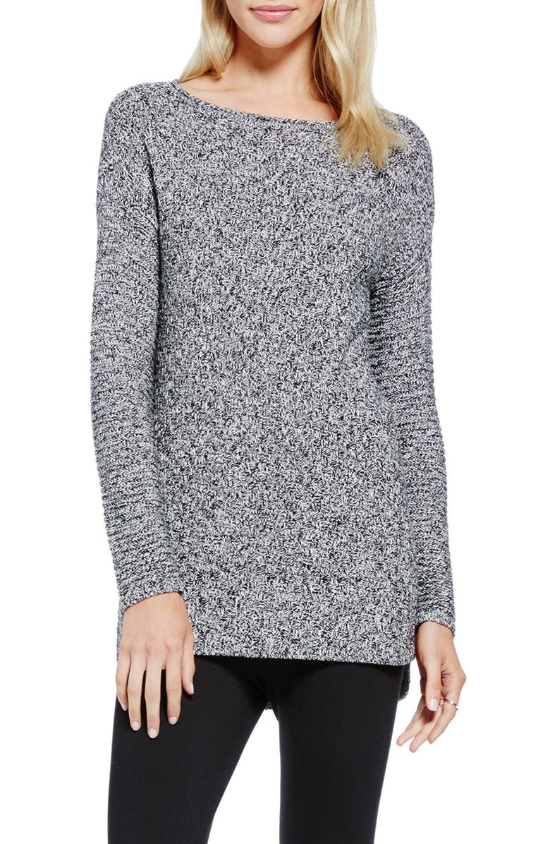 VINCE CAMUTO Basket Weave & Rib Knit Sweater, Main, color, 001