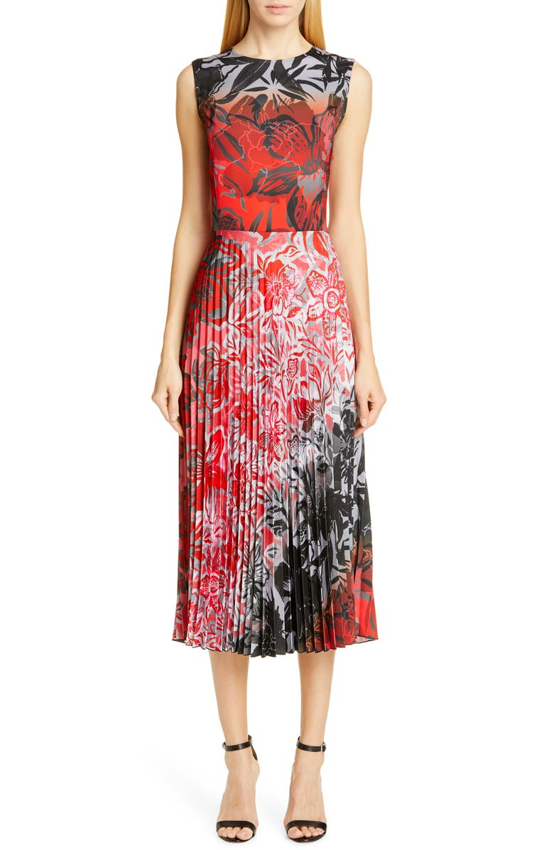 FUZZI Dégradé Floral Pleated Midi Dress, Main, color, 617