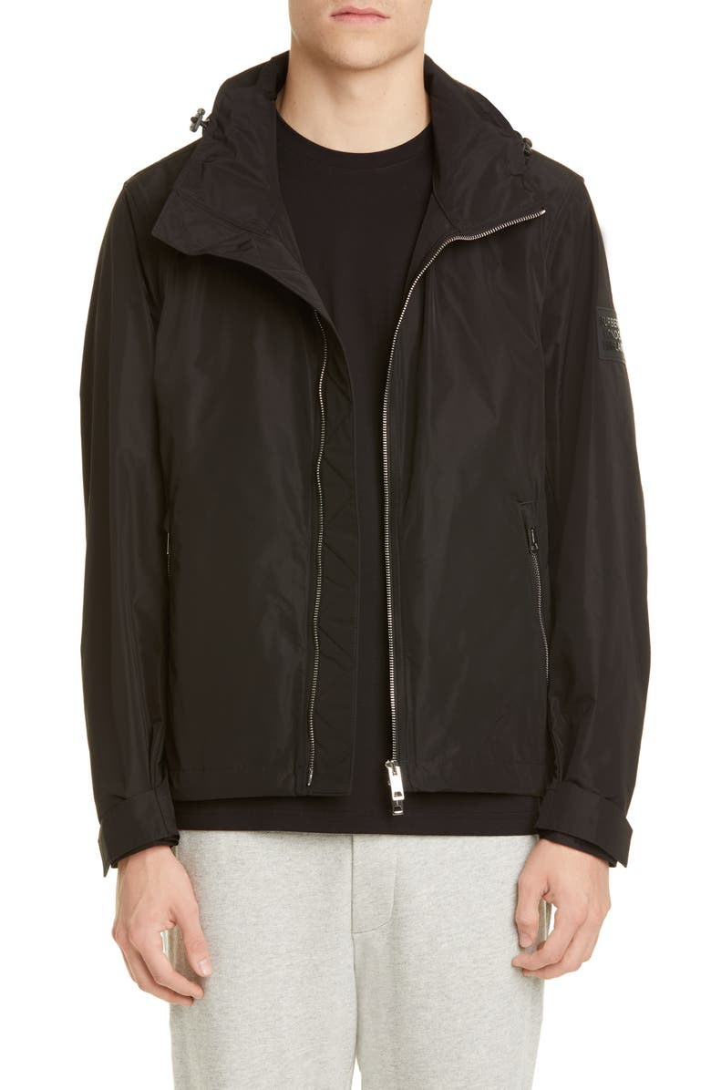 BURBERRY Hargrave Hooded Jacket, Main, color, BLACK