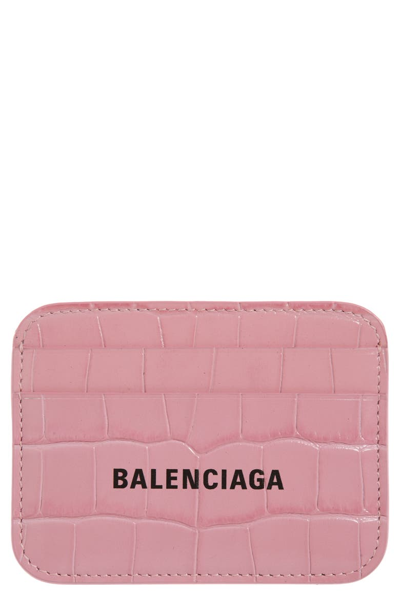 BALENCIAGA Cash Logo Croc Embossed Leather Card Case, Main, color, 672