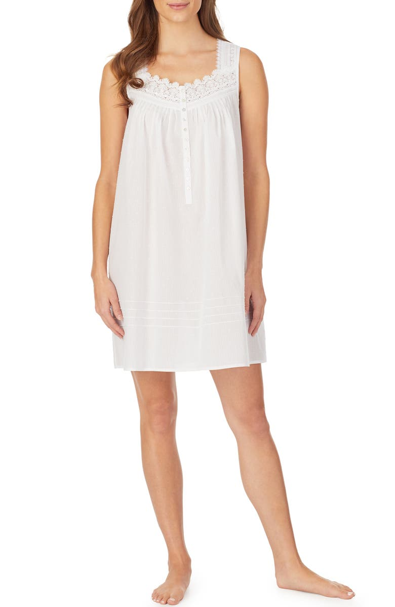 EILEEN WEST Clip Dot Short Nightgown, Main, color, 100