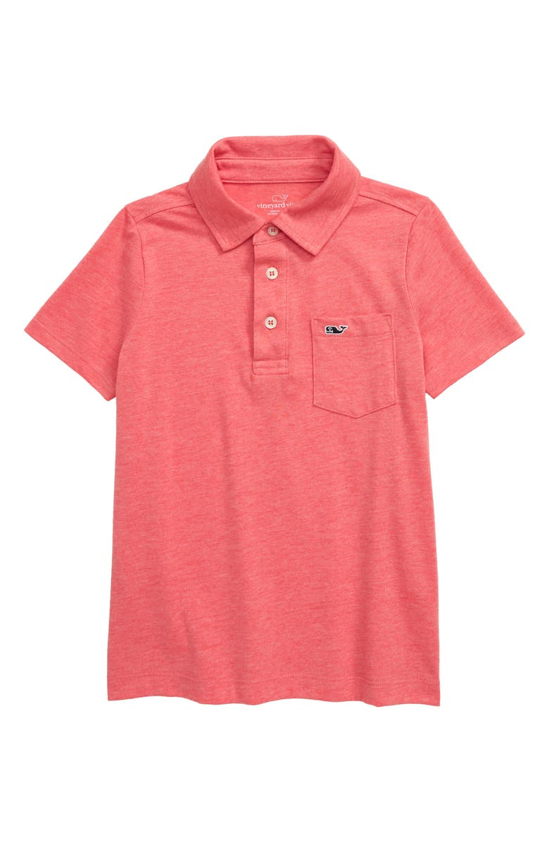 VINEYARD VINES Heathered Island Polo, Main, color, JETTY RED HEATHER