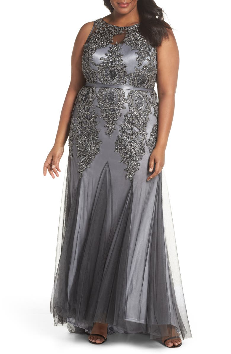 DECODE 1.8 Beaded Godet Mesh Trumpet Gown, Main, color, 020