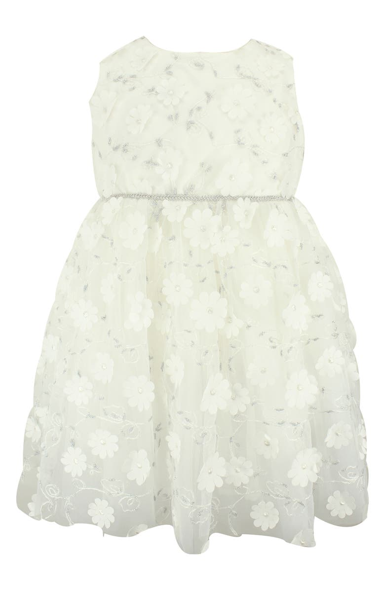 POPATU Embroidered Flower Tulle Dress, Main, color, 100