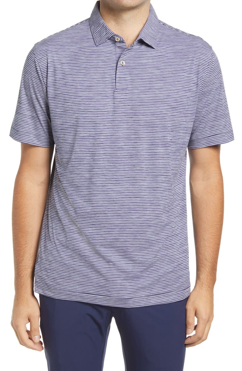 PETER MILLAR Featherweight Mélange Stripe Short Sleeve Polo, Main, color, NAVY