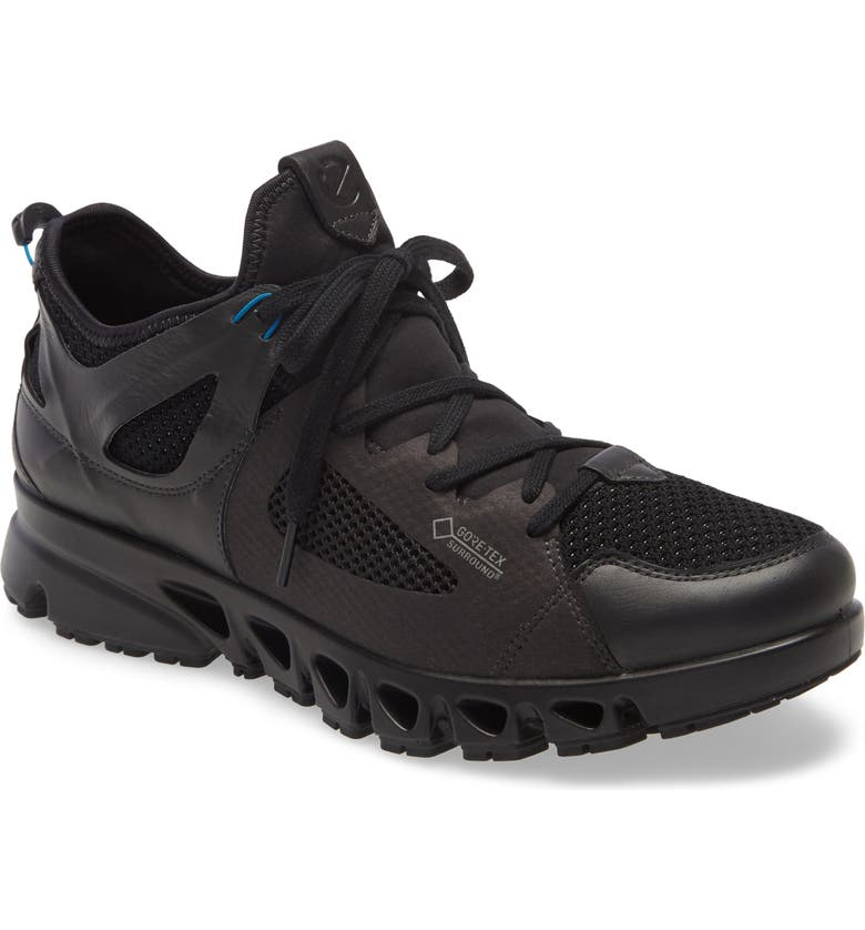 ECCO Omni Vent Air Gore-Tex<sup>®</sup> Waterproof Sneaker, Main, color, BLACK/ BLACK/ OLYMPIAN BLUE