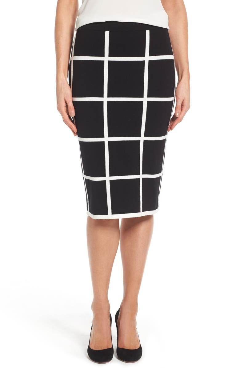 VINCE CAMUTO Windowpane Sweater Knit Skirt, Main, color, 006