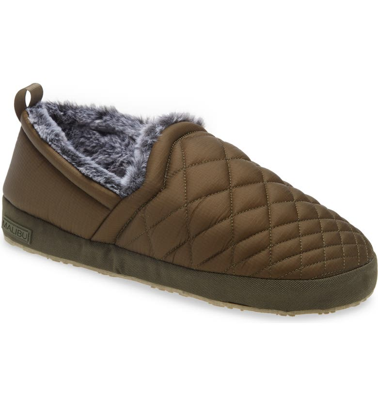 MALIBU SANDALS Colony Water Resistant Moccasin Slipper, Main, color, OLIVE/TAN
