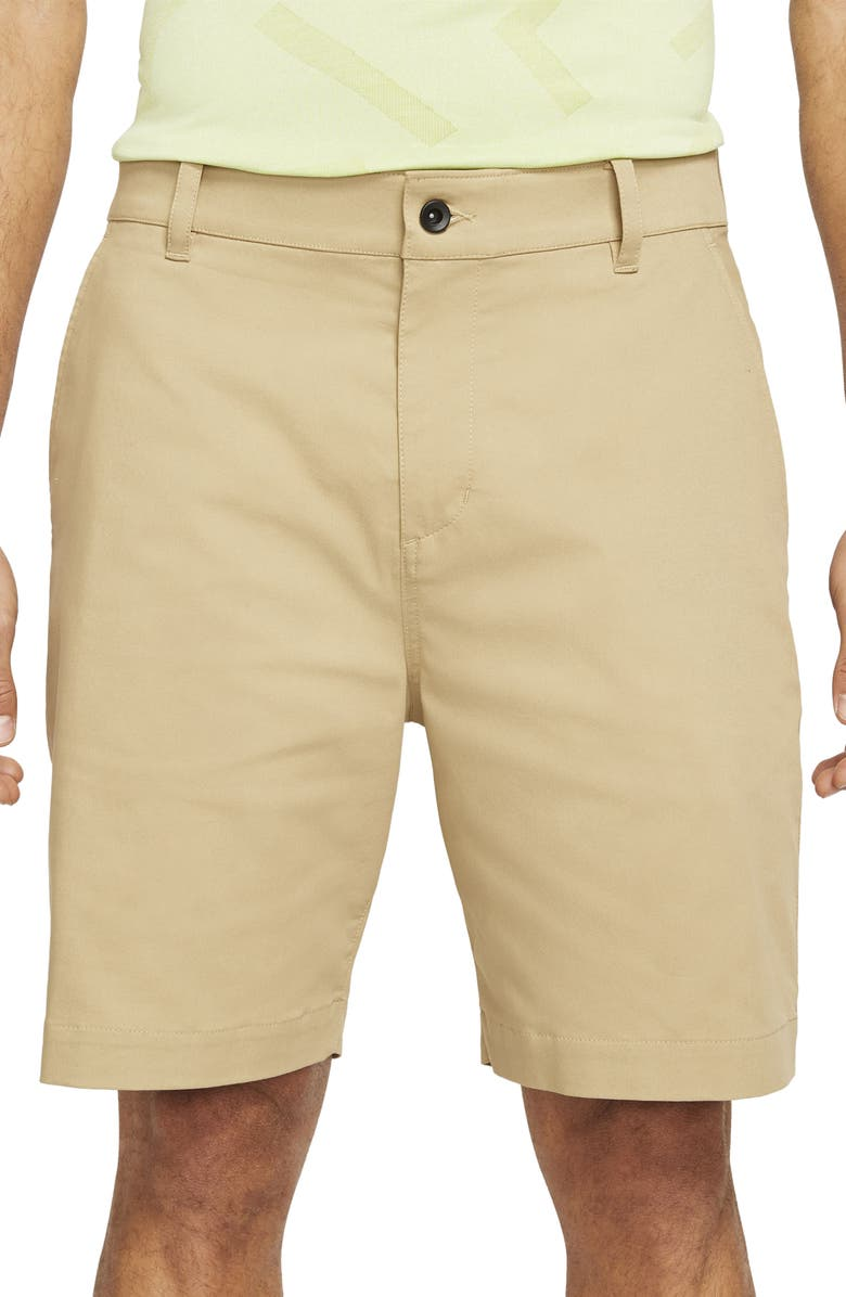 NIKE Dri-FIT UV Flat Front Chino Golf Shorts, Main, color, PARACHUTE BEIGE