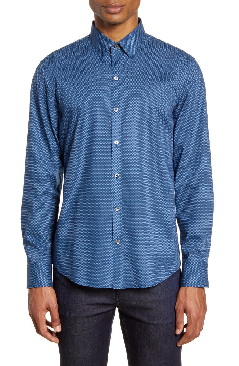 ZACHARY PRELL Larson Regular Fit Stretch Button-Up Shirt, Main, color, 439