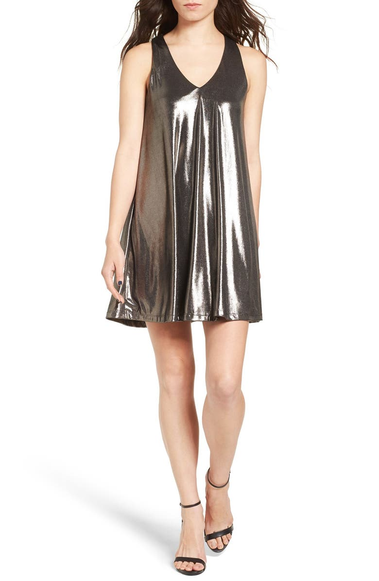 EVERLY Metallic Racerback Shift Dress, Main, color, 030