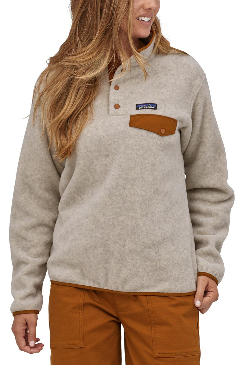 PATAGONIA Synchilla Snap-T<sup>®</sup> Recycled Fleece Pullover, Main, color, OATMEAL HEATHER W/ WOOD BROWN