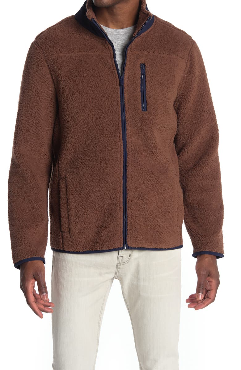 THE NORMAL BRAND Henry Faux Shearling Jacket, Main, color, BROWN