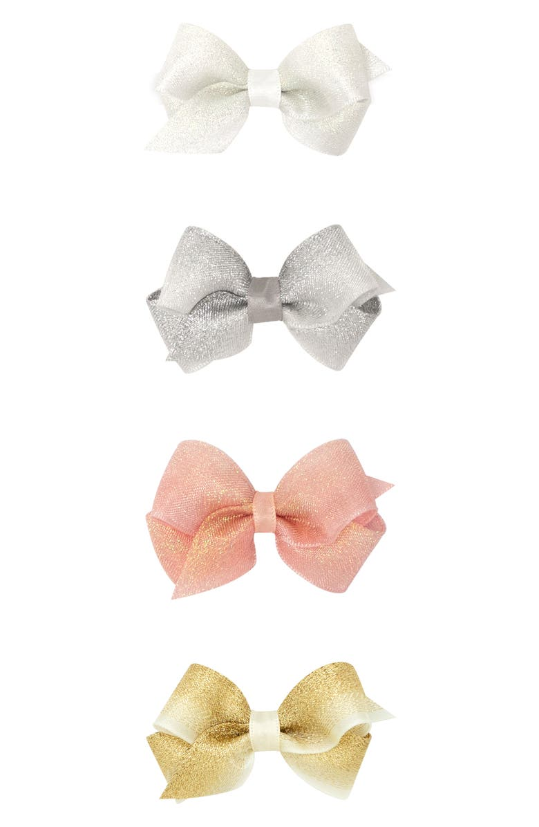 PLH BOWS 4-Pack Wee Shimmer Bow Hair Clips, Main, color, 040