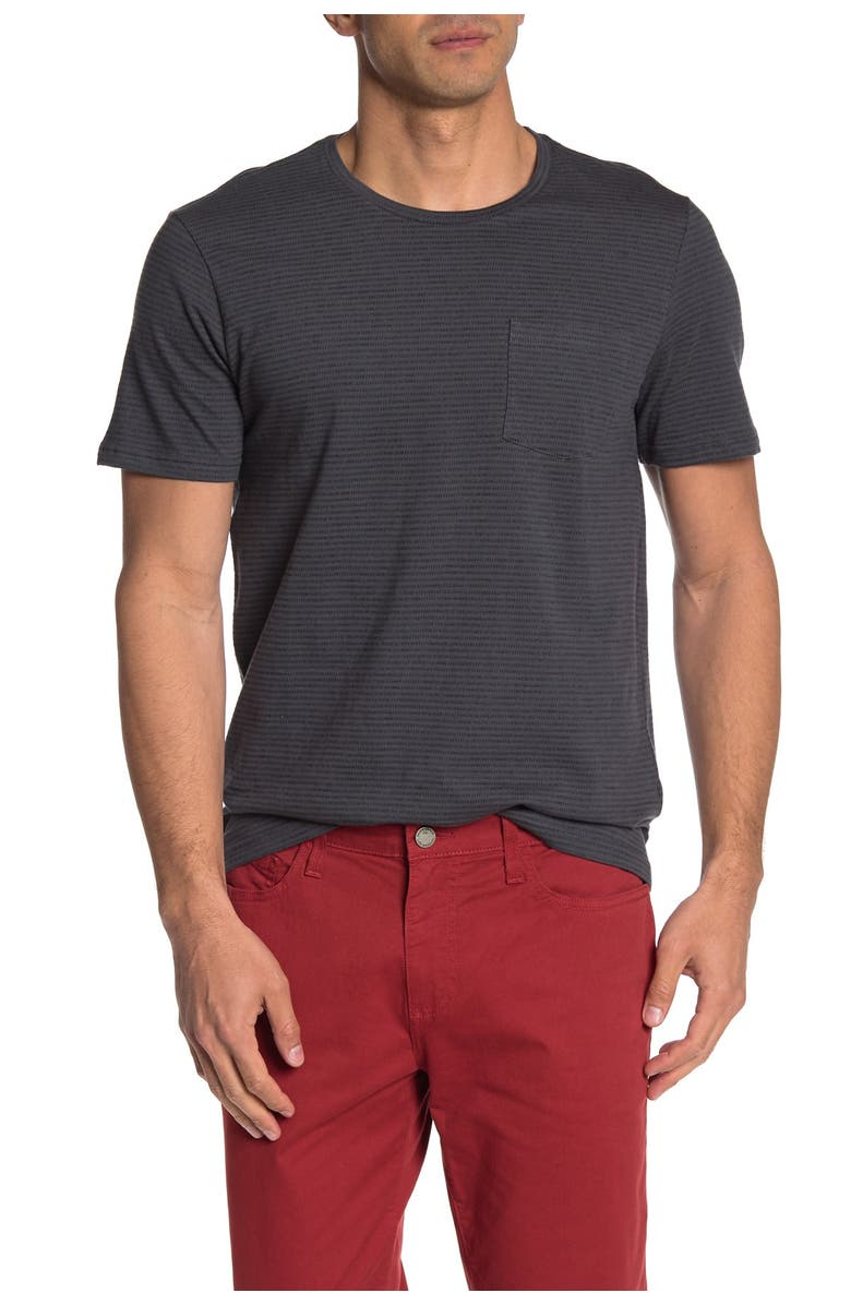 PUBLIC OPINION Short Sleeve Striped Pocket T-Shirt, Main, color, GREY FADED STRIPE