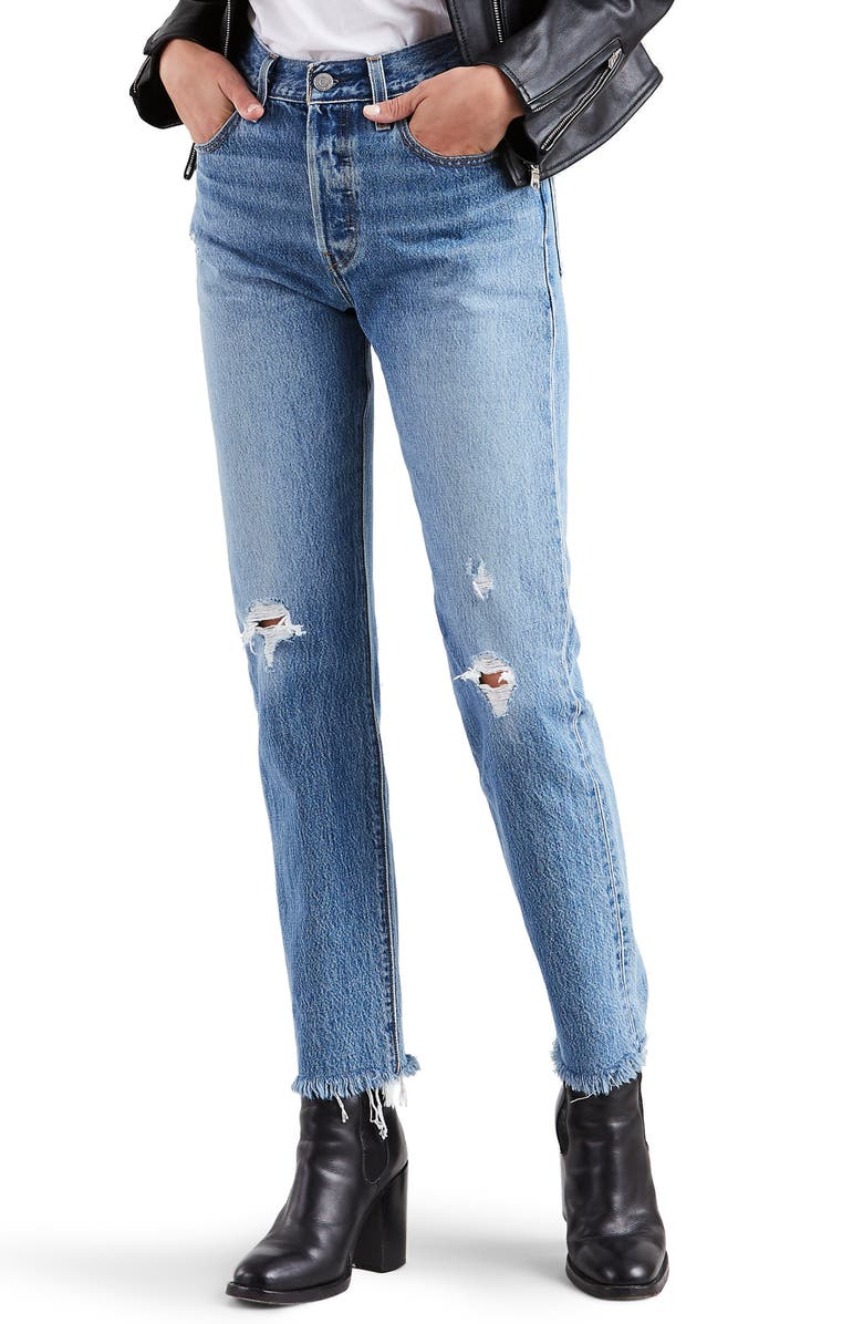 LEVI'S<SUP>®</SUP> 501<sup>®</sup> High Waist Ripped Fray Hem Skinny Jeans, Main, color, TRUTH UNFOLDS