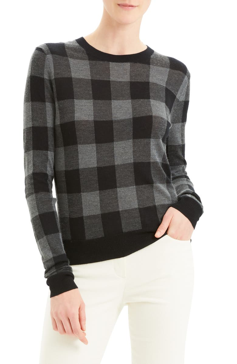 THEORY Plaid Silk & Cashmere Sweater, Main, color, 020