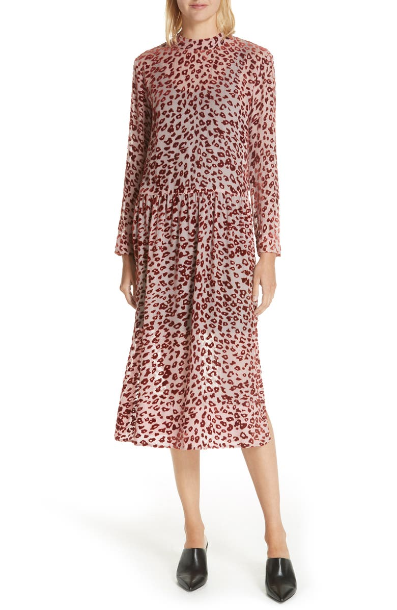 RAG & BONE Gia Devoré Leopard Spot Dress, Main, color, 660