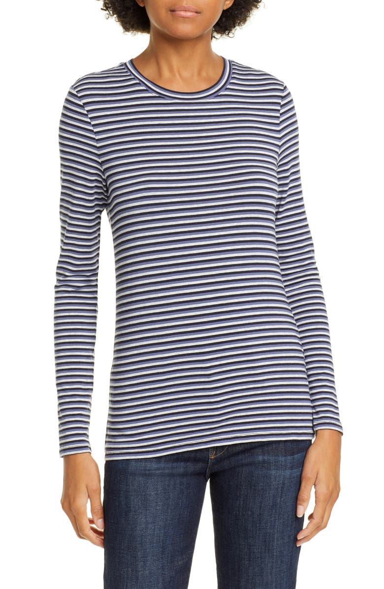 NORDSTROM SIGNATURE Stripe Long Sleeve Tee, Main, color, 410