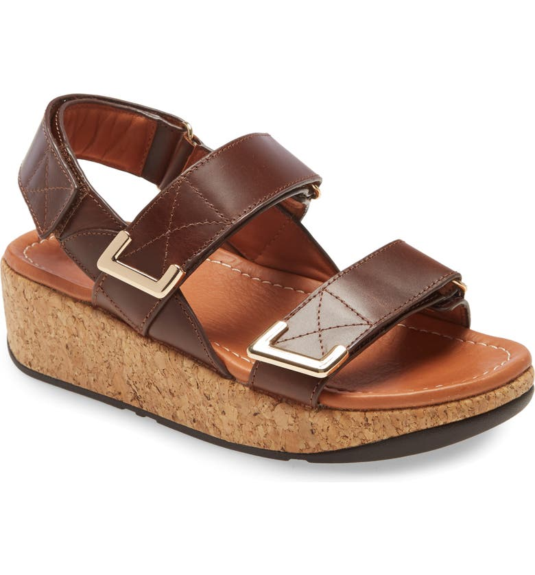 FITFLOP Remi Platform Wedge Sandal, Main, color, CHOCOLATE BROWN LEATHER