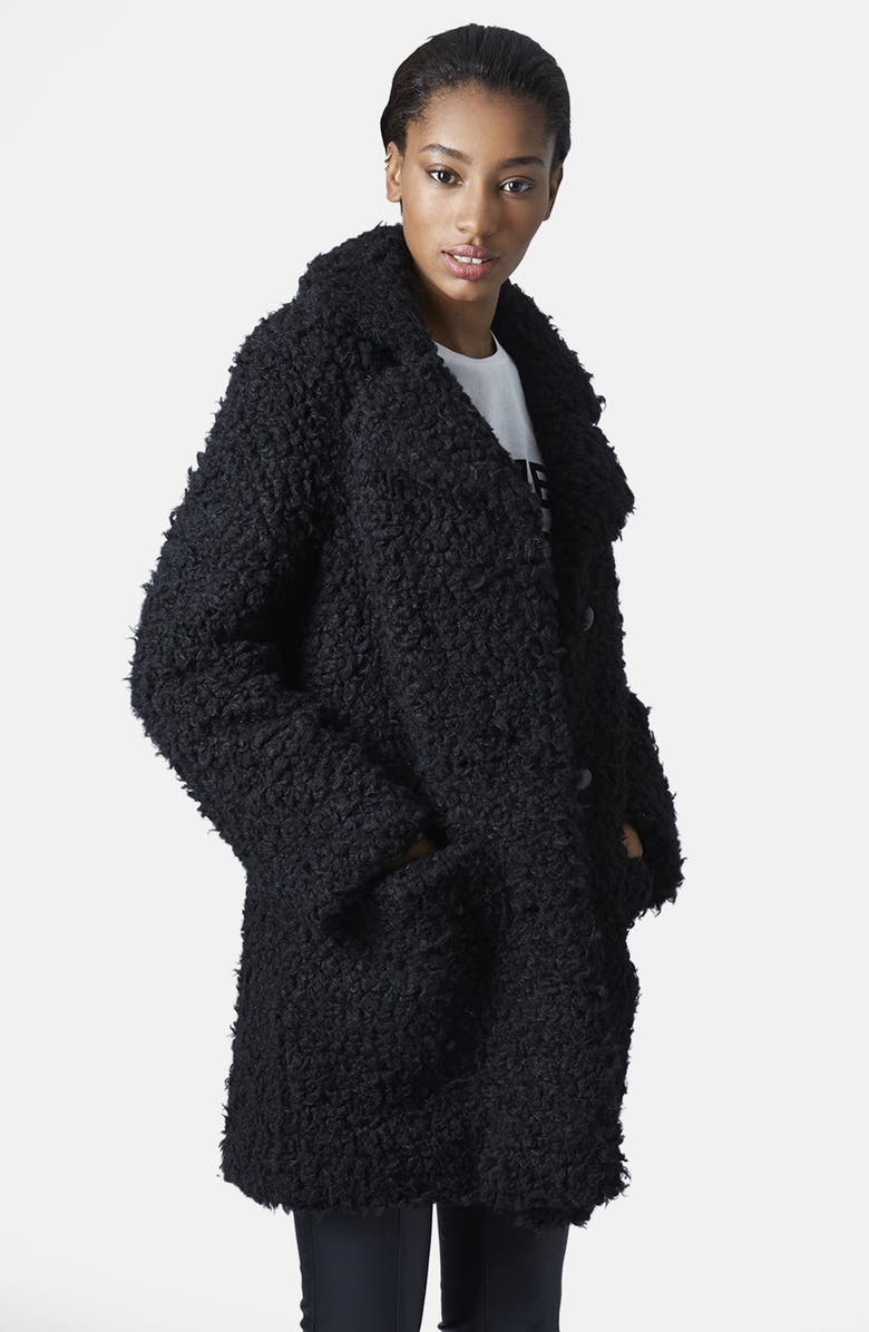 TOPSHOP Faux Fur Car Coat, Main, color, 001