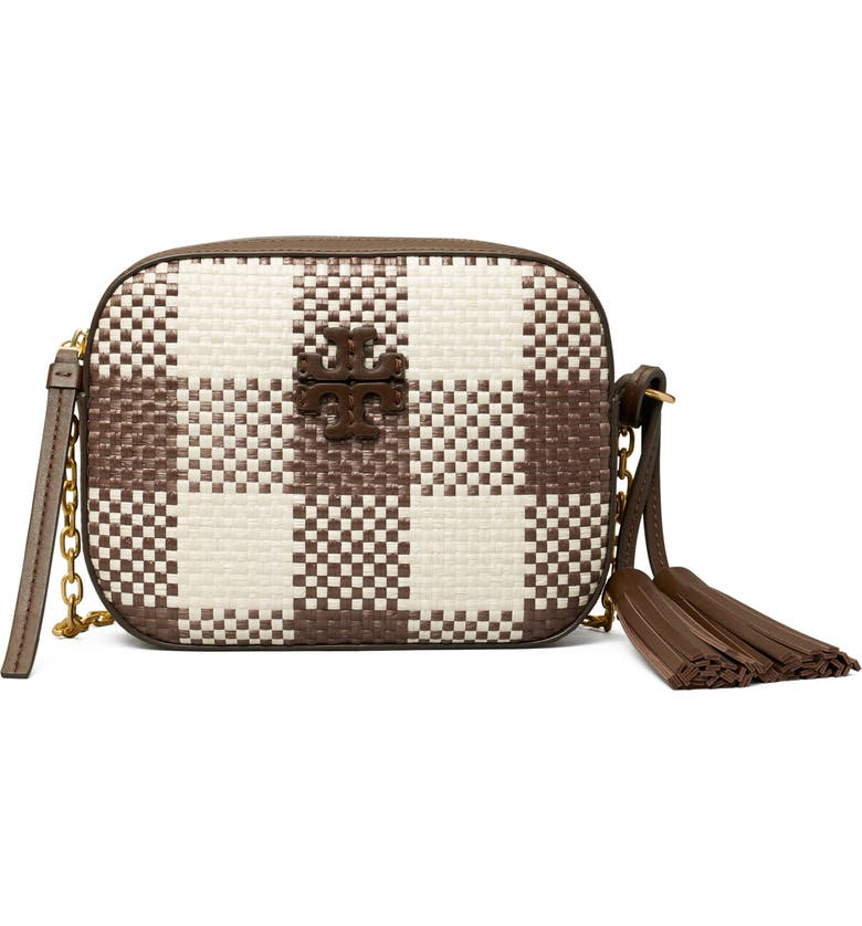 TORY BURCH McGraw Woven Plaid Camera Bag, Main, color, COLD BREW