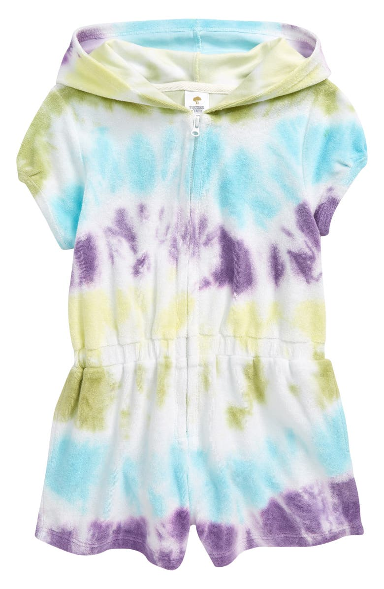 TUCKER + TATE Kids' Tie Dye Terry Cover-Up Romper, Main, color, WHITE RAINBOW TIE DYE