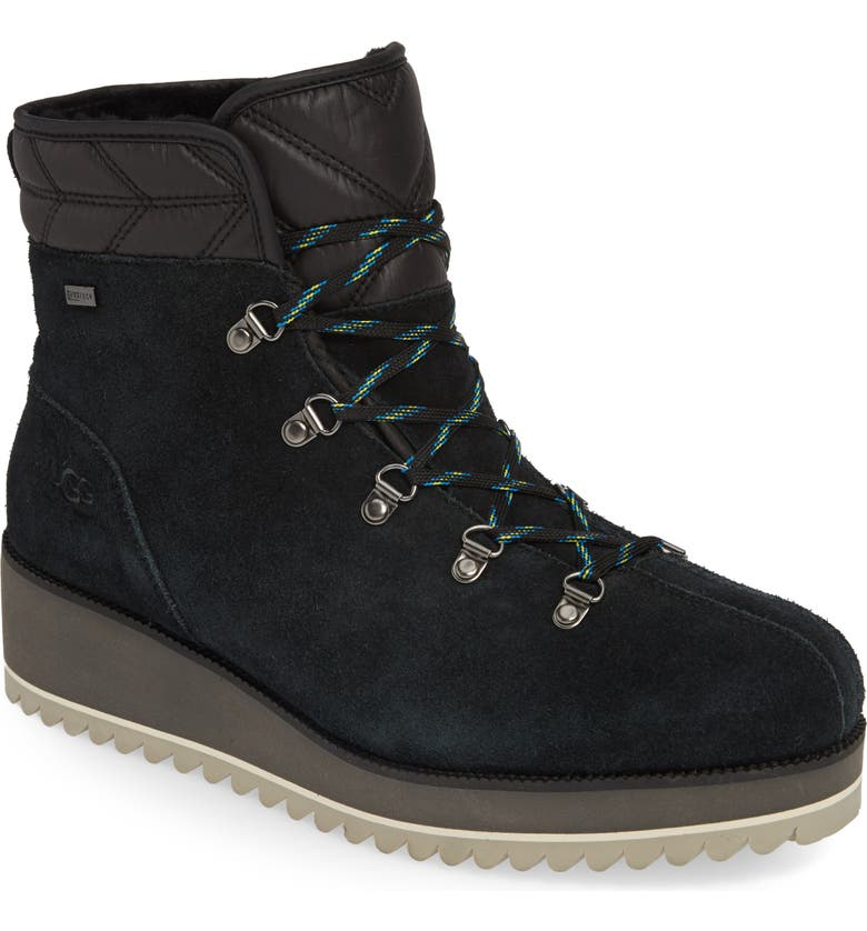 UGG<SUP>®</SUP> Birch Waterproof Lace-Up Winter Bootie, Main, color, 001