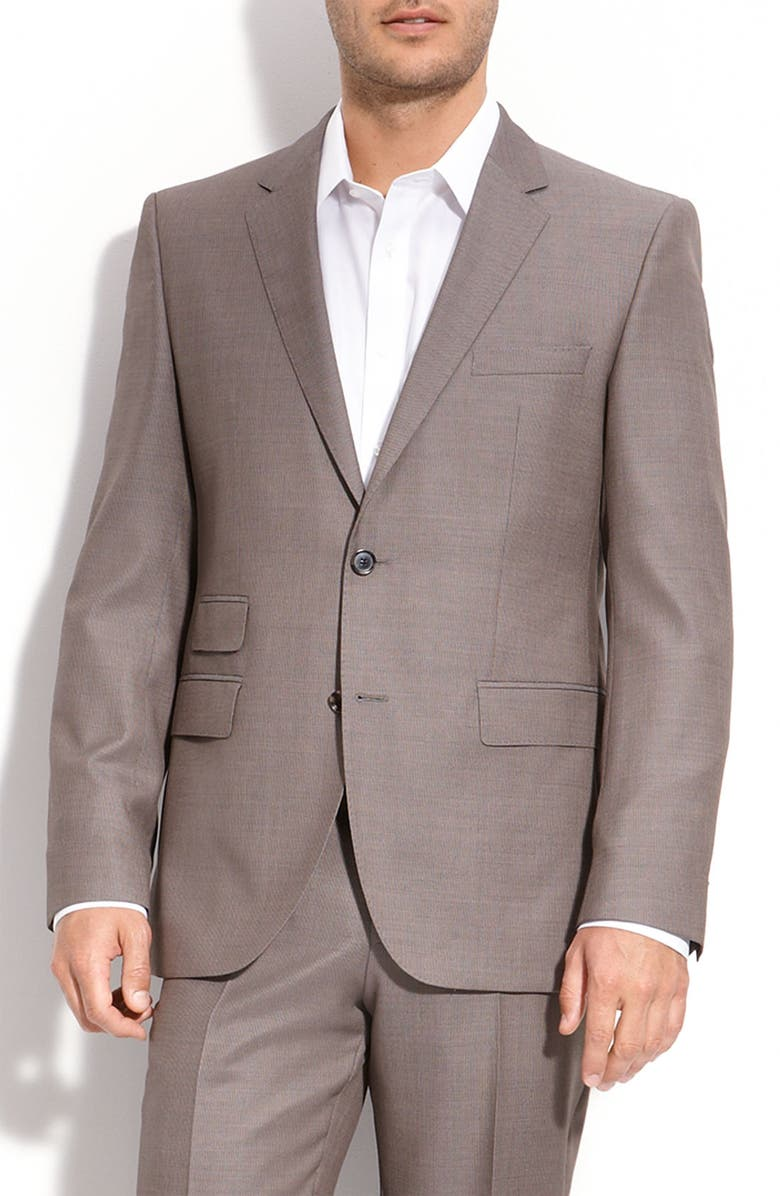 ZZDNUHUGO BOSS BOSS Black 'The Sweet' Taupe Wool Suit, Main, color, 230