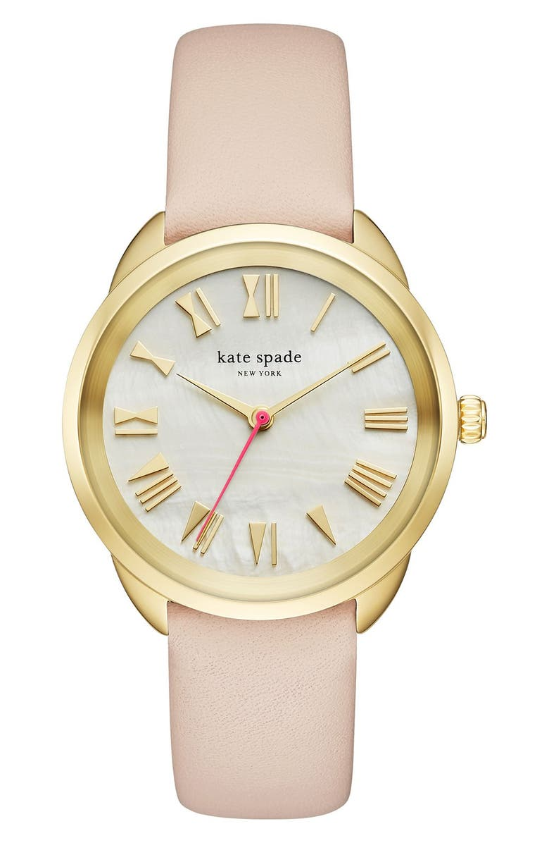 KATE SPADE NEW YORK crosstown leather strap watch, 34mm, Main, color, 200
