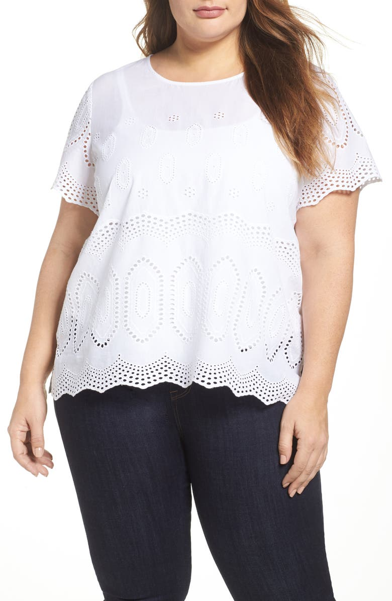 VINCE CAMUTO Scallop Eyelet Blouse, Main, color, ULTRA WHITE