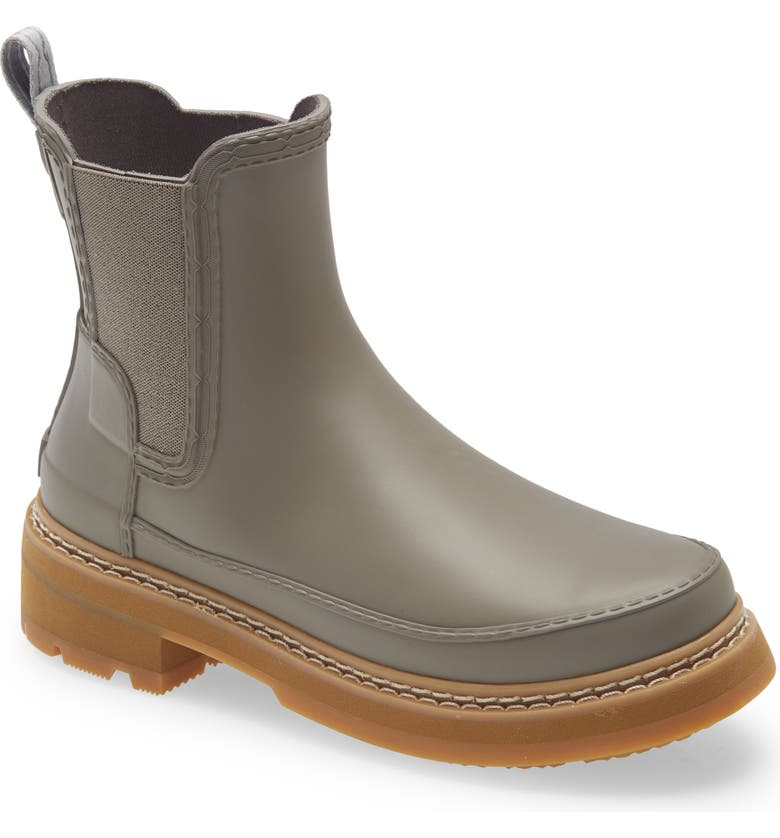 HUNTER Refined Stitch Waterproof Chelsea Boot, Main, color, GREY HERON