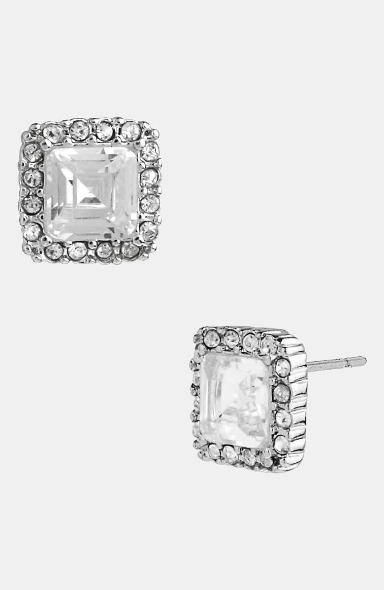 BETSEY JOHNSON Square Stud Earrings, Main, color, CLEAR/ SILVER