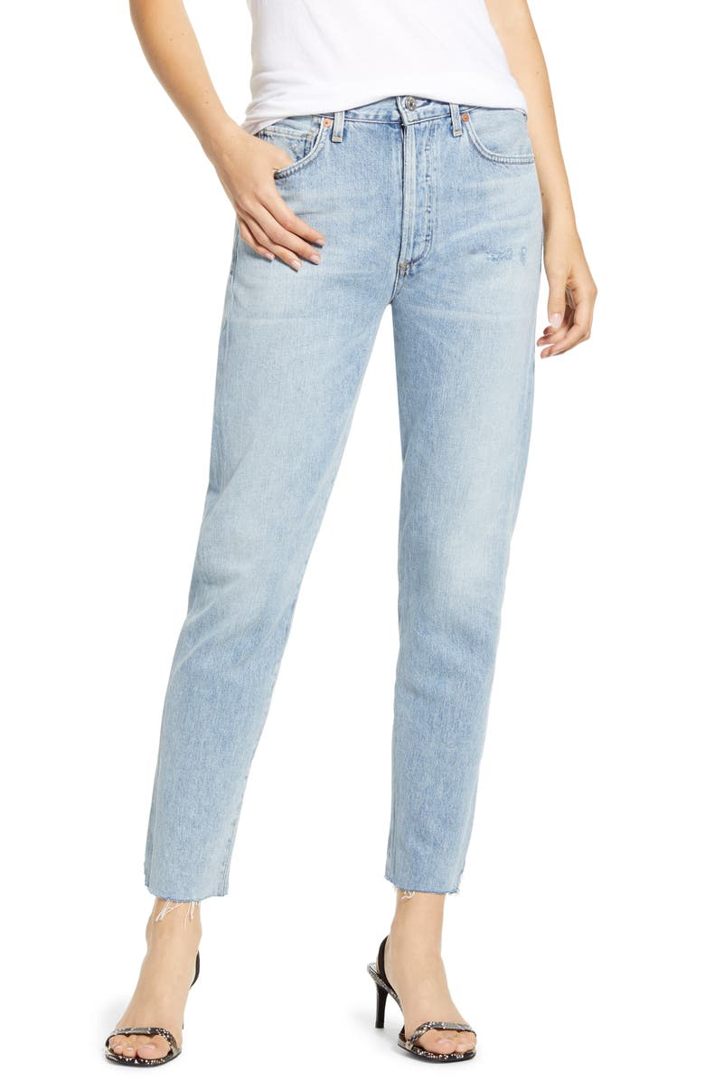 CITIZENS OF HUMANITY Liya High Waist Raw Hem Slim Jeans, Main, color, 453