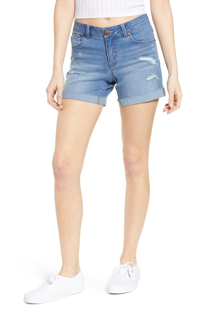 1822 DENIM Distressed Cuffed Denim Shorts, Main, color, 400