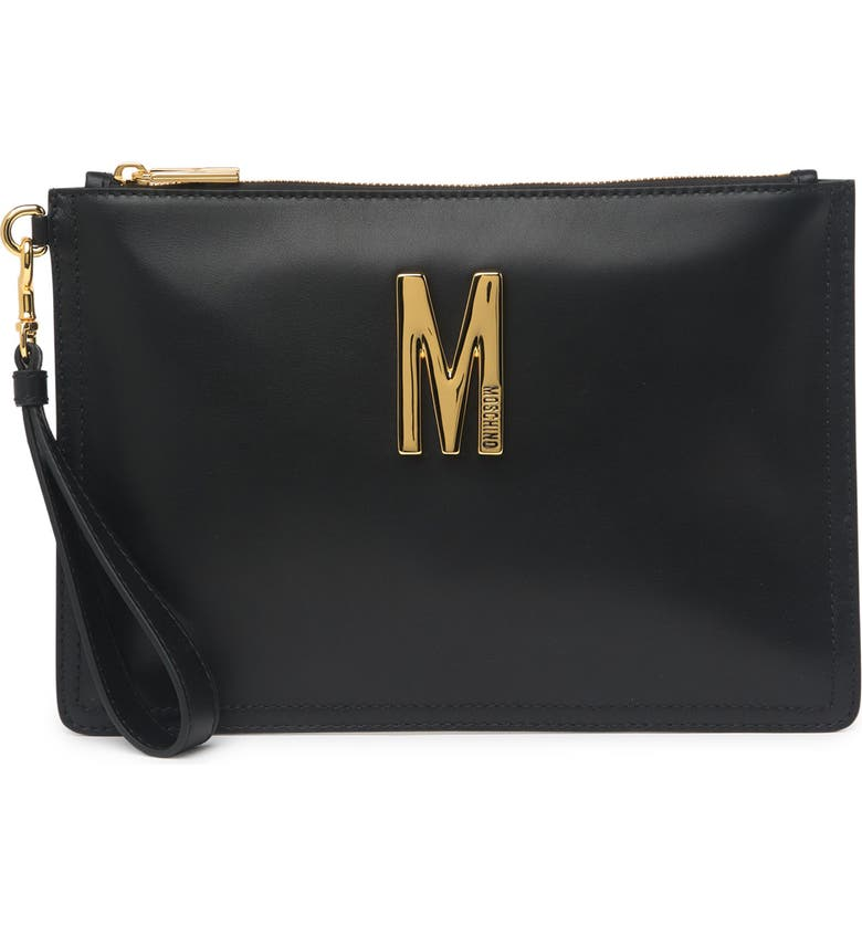 MOSCHINO M Leather Wristlet, Main, color, BLACK