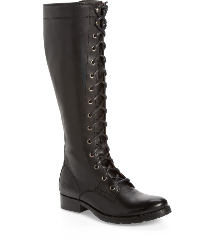FRYE Melissa Tall Lace-Up Boot, Main, color, BLACK FABRIC