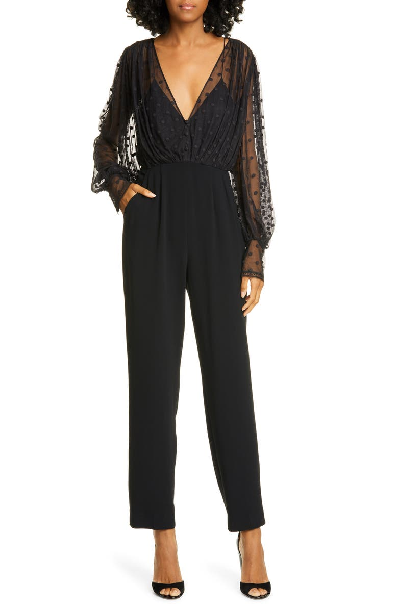 SALONI Bernadette Tulle & Crepe Jumpsuit, Main, color, 001