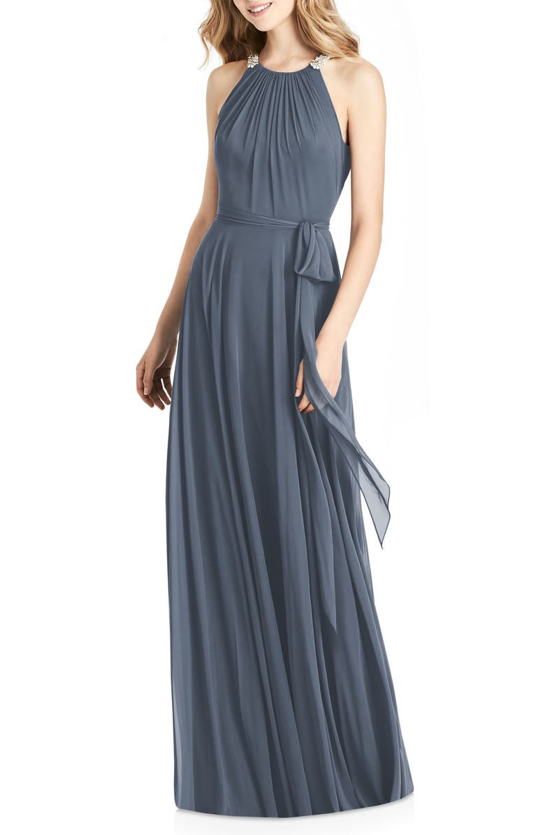 JENNY PACKHAM Crystal Strap Chiffon A-Line Gown, Main, color, SILVERSTONE