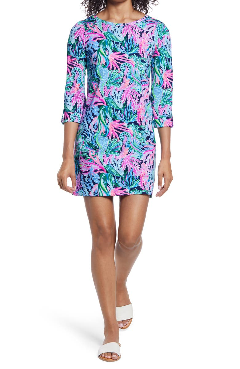 LILLY PULITZER<SUP>®</SUP> Linden Pima Cotton Shift Minidress, Main, color, HIGH TIDE NAVY
