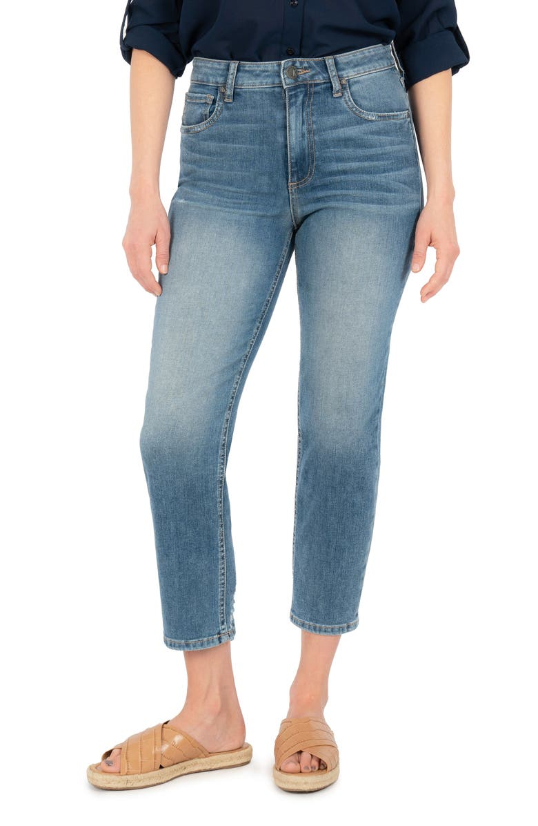 KUT FROM THE KLOTH Elizabeth High Waist Crop Straight Leg Jeans, Main, color, MORAL