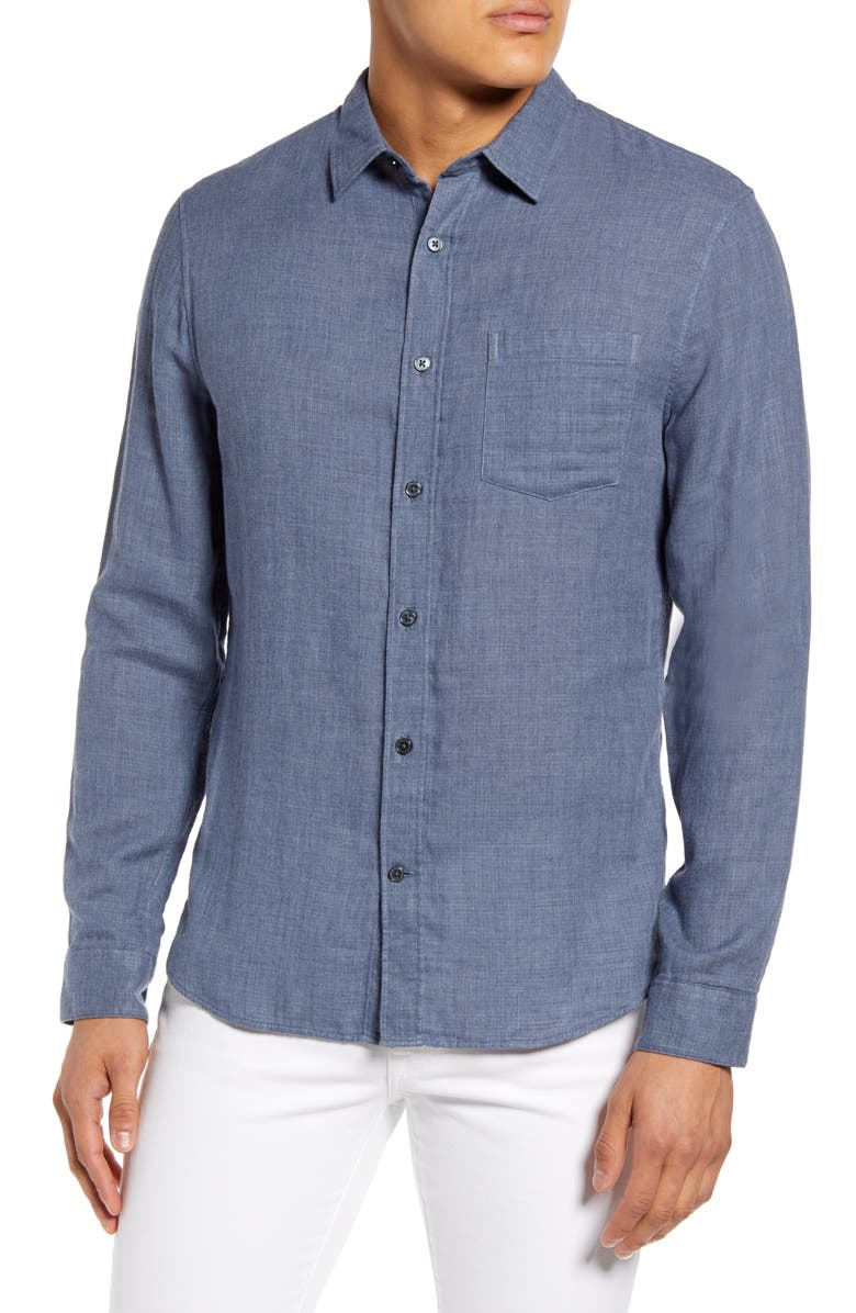 VINCE Double Face Slim Fit Button-Up Shirt, Main, color, CHAMBRAY