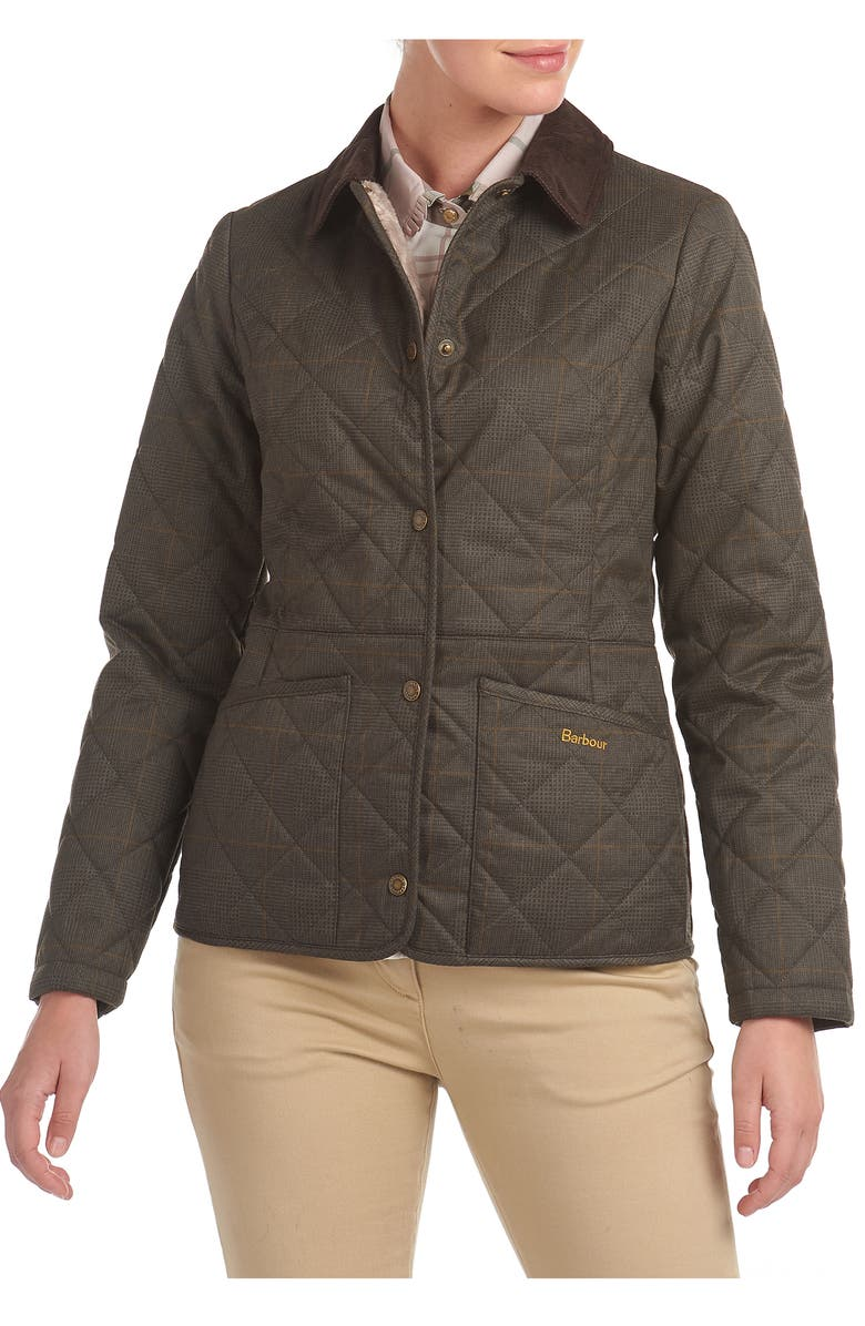 BARBOUR Huddleson Plaid Quilted Jacket, Main, color, OLIVE/ NATURAL