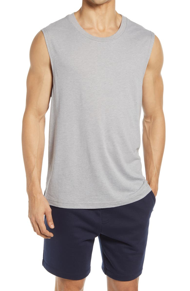 ALO The Triumph Sleeveless T-Shirt, Main, color, ATHLETIC HEATHER GREY