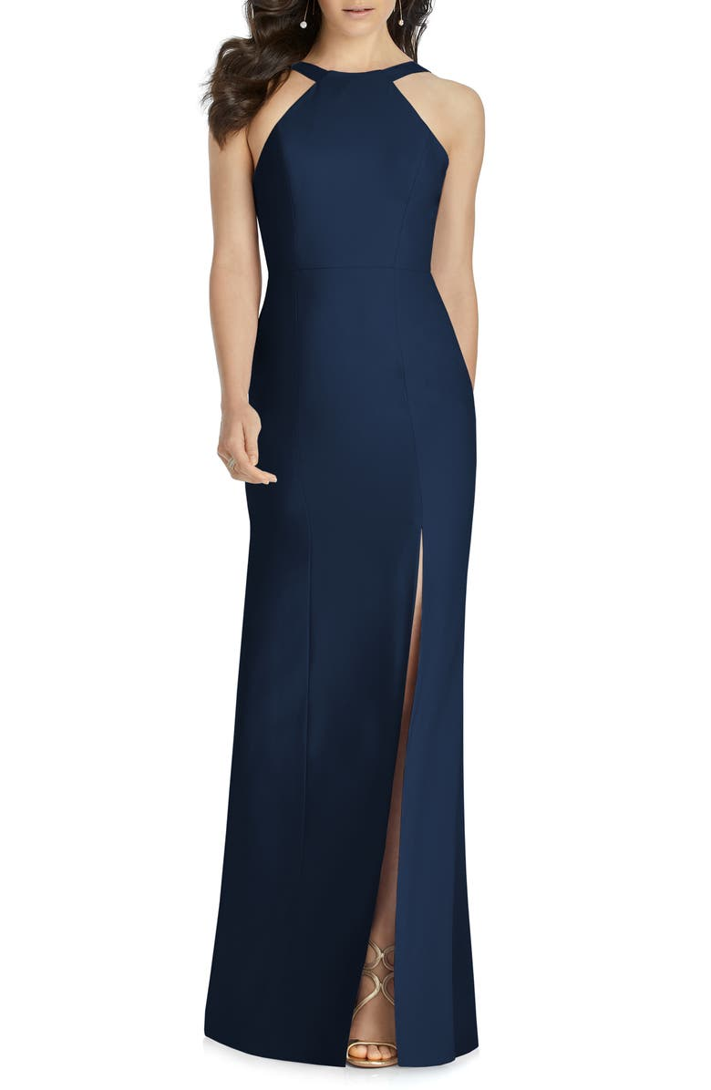 DESSY COLLECTION Cutaway Shoulder Crepe Column Gown, Main, color, MIDNIGHT