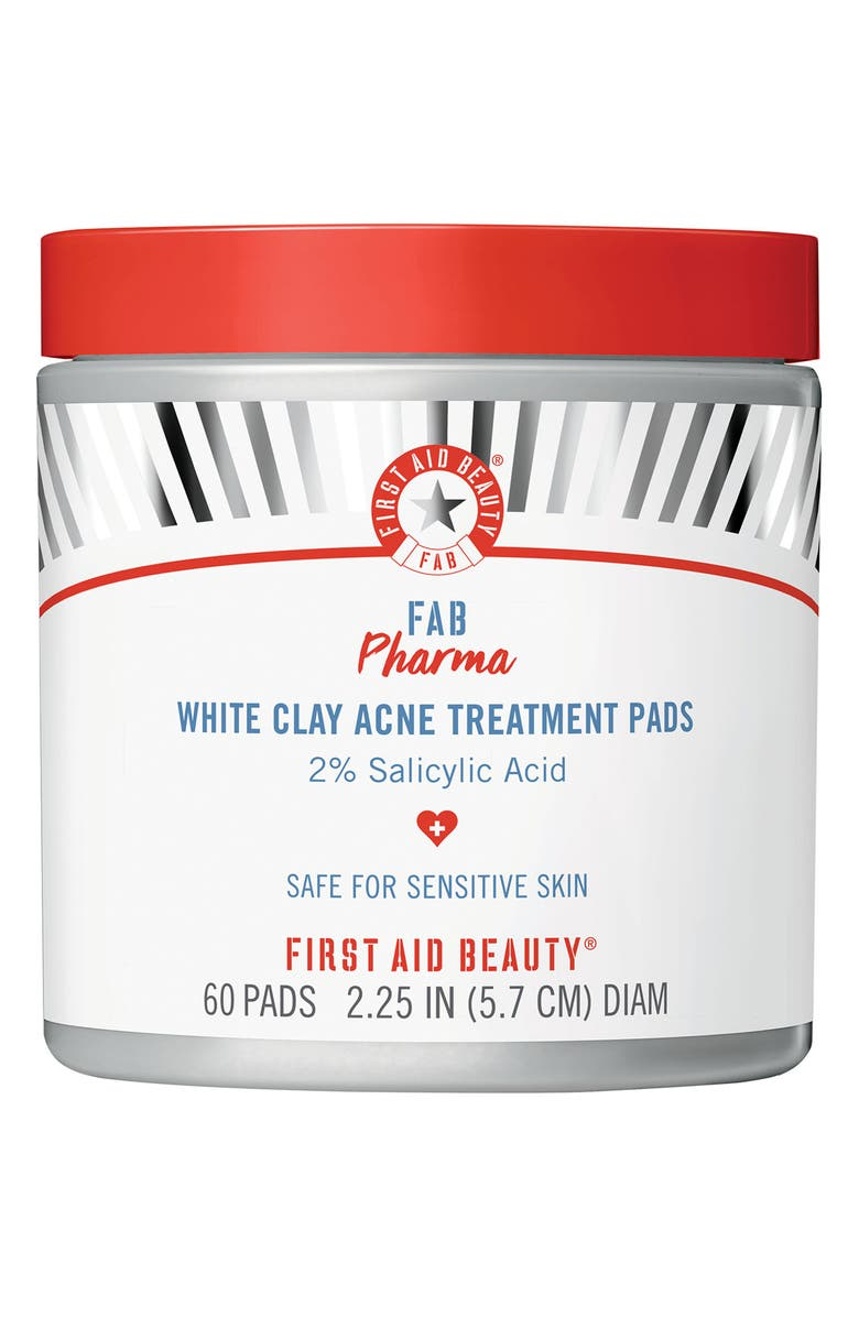FIRST AID BEAUTY Fab Pharma White Clay Acne Treatment Pads with 2% Salicylic Acid, Main, color, NO COLOR