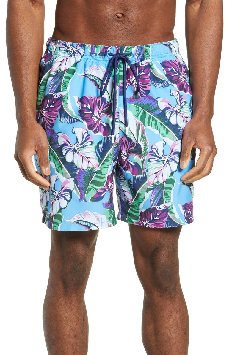 TOMMY BAHAMA Naples Let's Be Fronds Classic Fit Swim Trunks, Main, color, 400