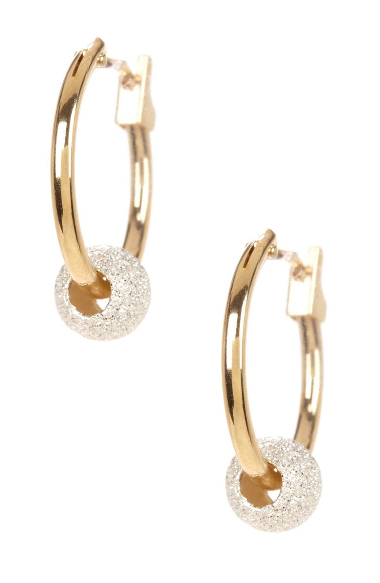 CANDELA JEWELRY 14K Yellow Gold & Sterling Silver Beaded 13mm Hoop Earrings, Main, color, YELLOW-SILVER