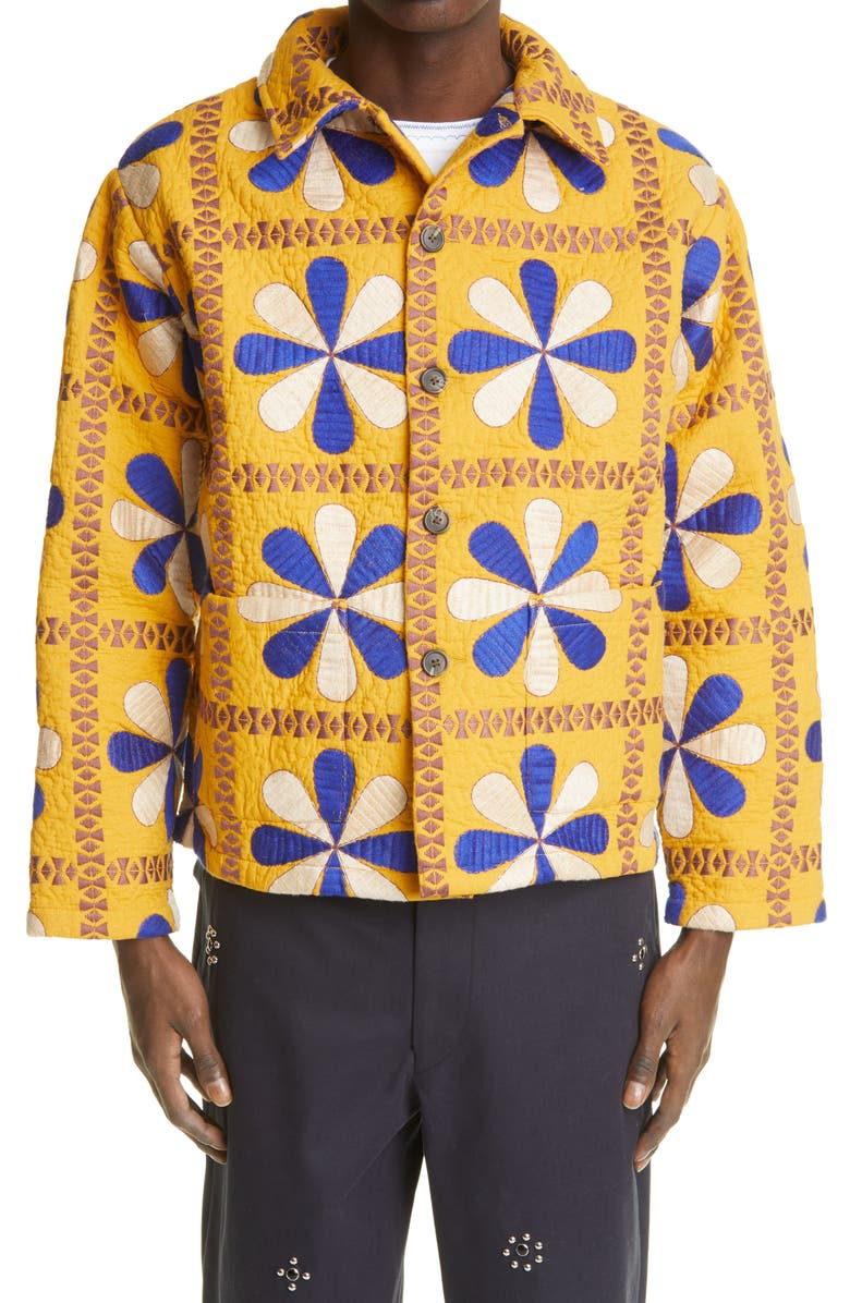 BODE x Marcus Paul Bengali Tableau Quilted Workwear Jacket, Main, color, YELLOW/LT BLUE